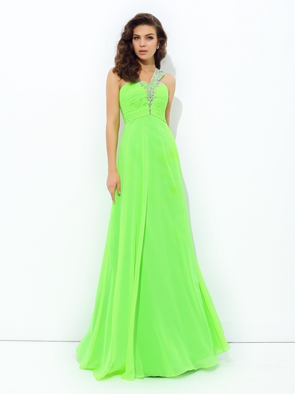 A-Line/Princess One-Shoulder Sleeveless Floor-Length Chiffon Dresses with Rhinestone