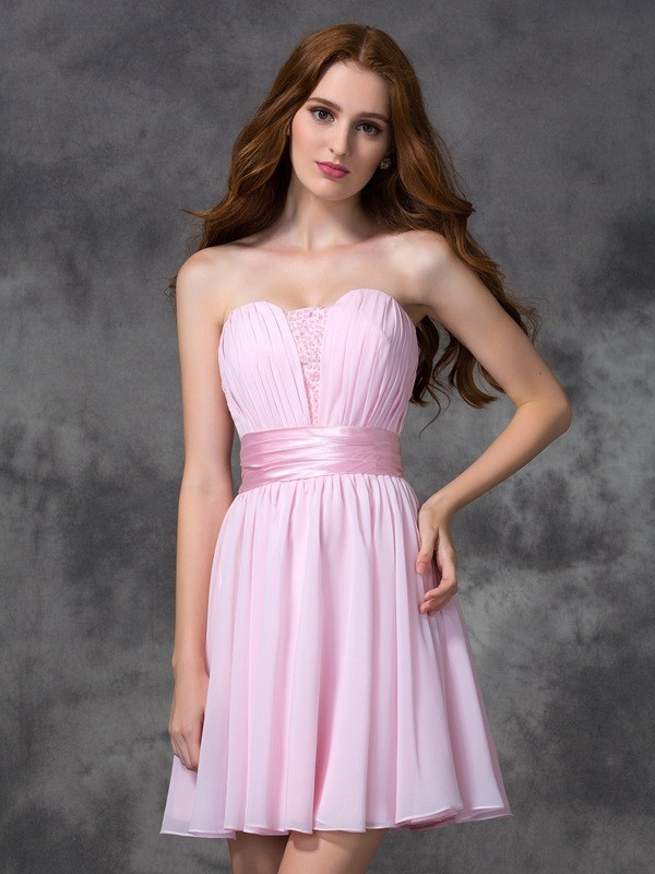 A-Line/Princess Sweetheart Sleeveless Short/Mini Chiffon Ruched Dresses
