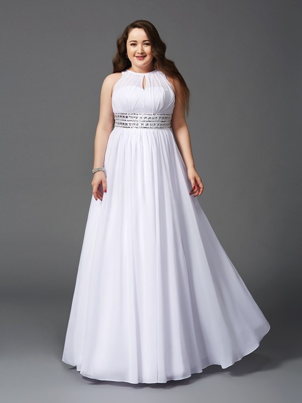A-Line/Princess Jewel Sleeveless Floor-Length Chiffon Dresses with Beading