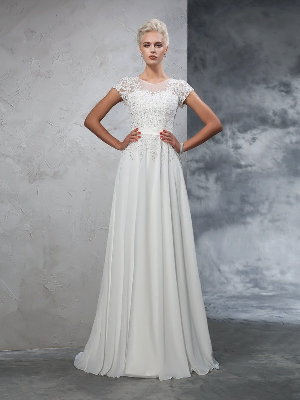 A-Line/Princess Sheer Neck Short Sleeves Sweep/Brush Train Chiffon Wedding Dresses with Applique