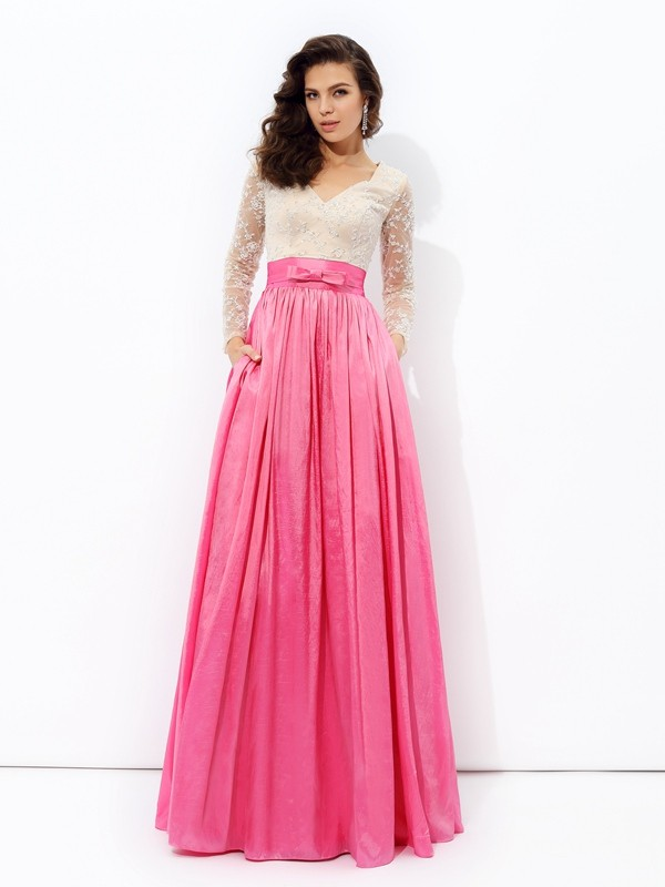 A-Line/Princess V-neck Long Sleeves Floor-Length Taffeta Dresses with Lace
