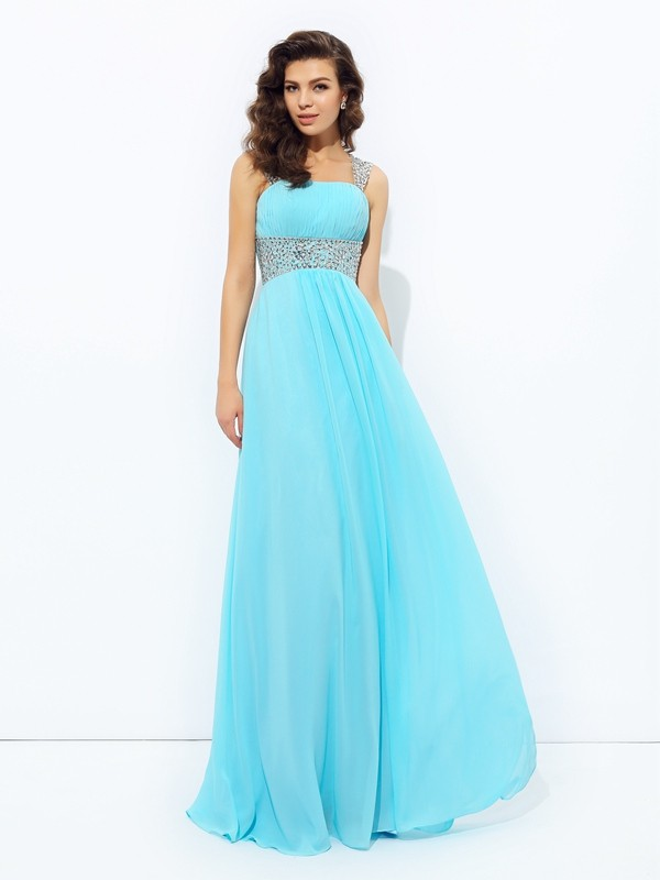 A-Line/Princess Straps Sleeveless Floor-Length Chiffon Dresses with Sequin