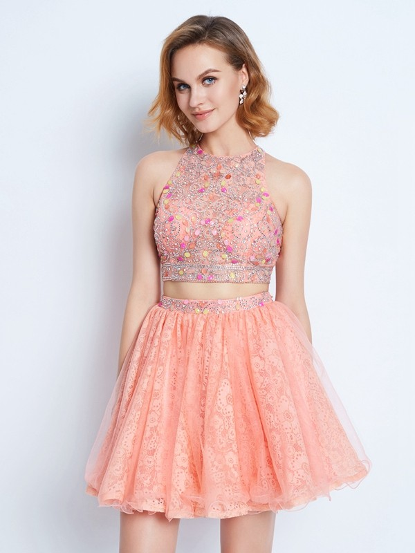 A-Line/Princess Jewel Sleeveless Short/Mini Lace Dresses with Lace