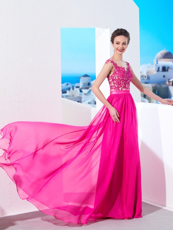 A-Line/Princess Sheer Neck Sleeveless Sweep/Brush Train Chiffon Dresses with Applique
