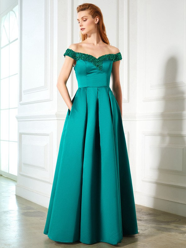 A-Line/Princess Off-the-Shoulder Sleeveless Floor-Length Satin Dresses with Sequin