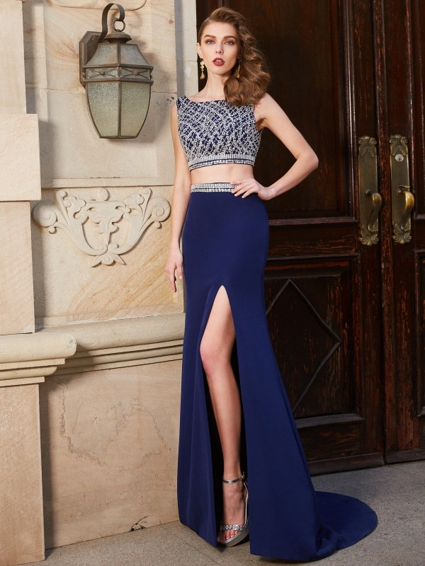 Sheath/Column Bateau Sleeveless Sweep/Brush Train Elastic Woven Satin Dresses with Beading