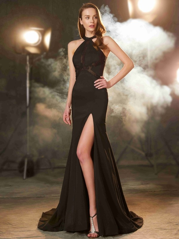 Sheath/Column Jewel Sleeveless Sweep/Brush Train Elastic Woven Satin Dresses with Beading