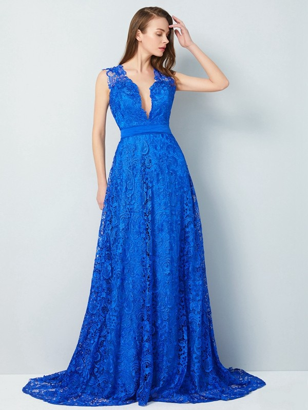 A-Line/Princess V-neck Sleeveless Sweep/Brush Train Lace Dresses with Bowknot