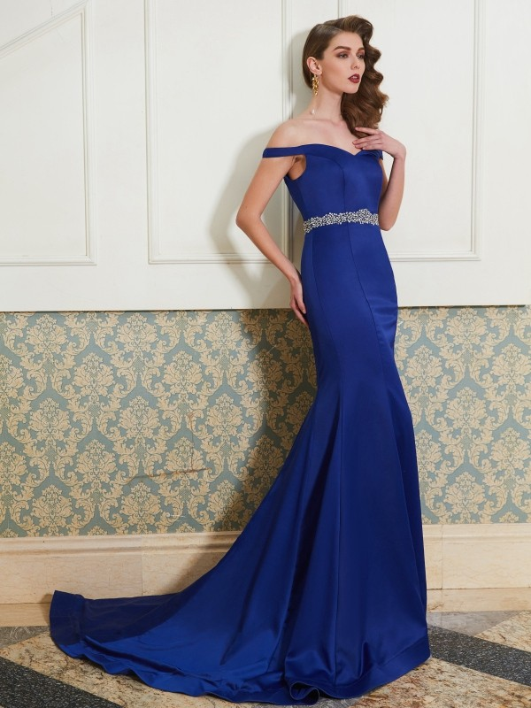 Trumpet/Mermaid Off-the-Shoulder Sleeveless Sweep/Brush Train Satin Dresses with Crystal