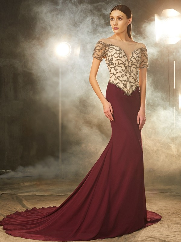 Sheath/Column Sheer Neck Short Sleeves Court Train Chiffon Dresses with Beading