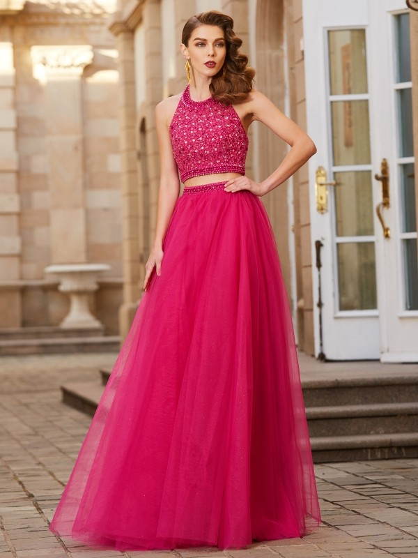 A-Line/Princess Halter Sleeveless Floor-Length Tulle Dresses with Beading