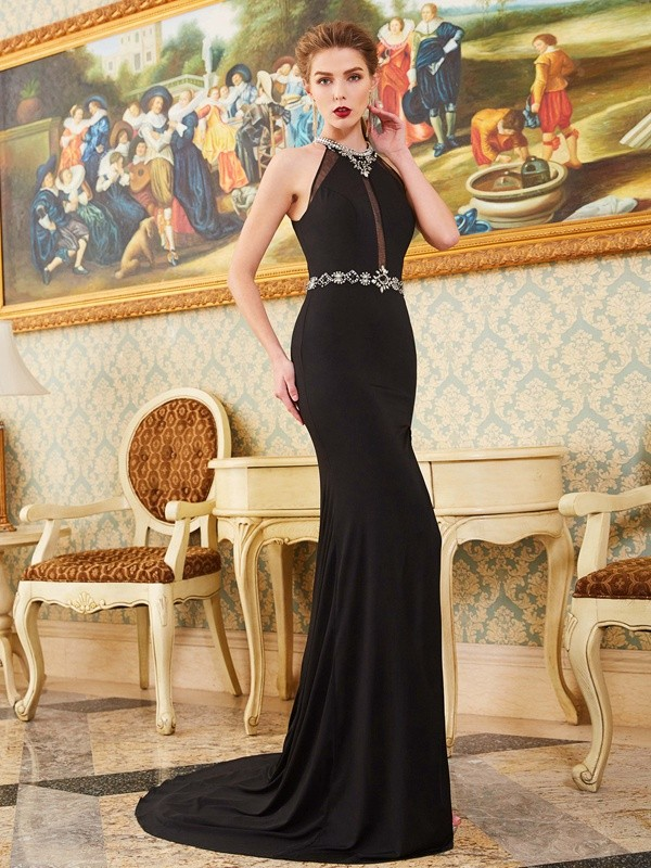 Sheath/Column High Neck Sleeveless Sweep/Brush Train Spandex Dresses with Beading