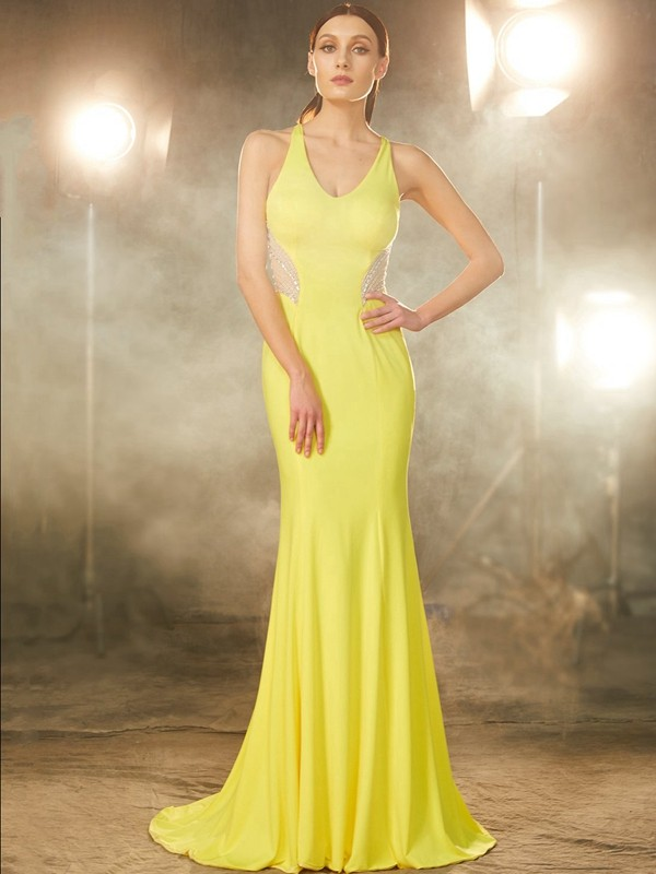 Trumpet/Mermaid V-neck Sleeveless Sweep/Brush Train Spandex Dresses with Beading