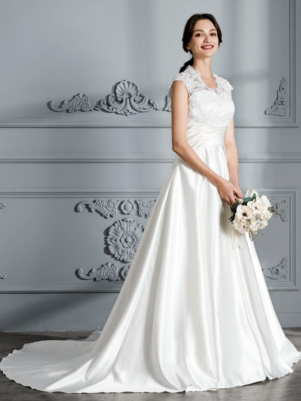 Ball Gown V-neck Sleeveless Court Train Satin Wedding Dresses