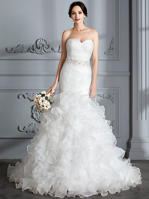 Trumpet/Mermaid Sweetheart Sleeveless Sweep/Brush Train Satin Wedding Dresses