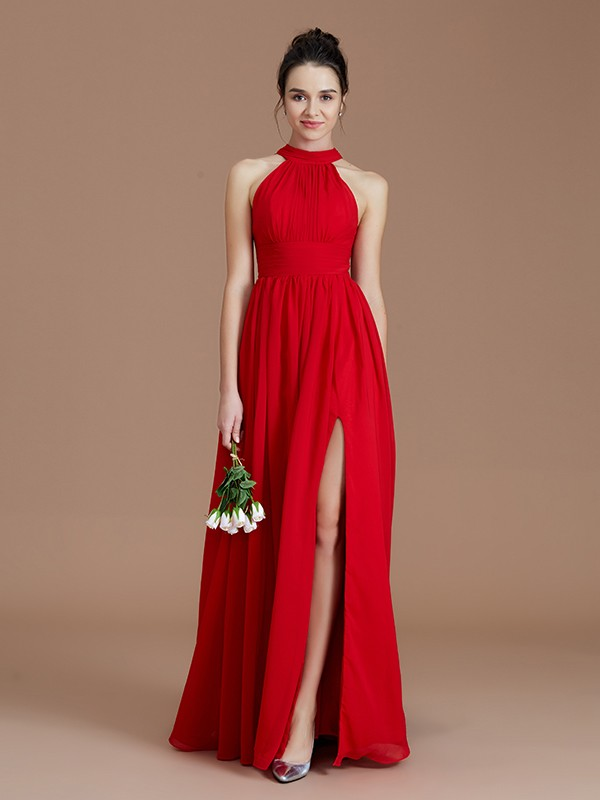A-Line/Princess Halter Sleeveless Floor-Length Chiffon Ruched Bridesmaid Dresses