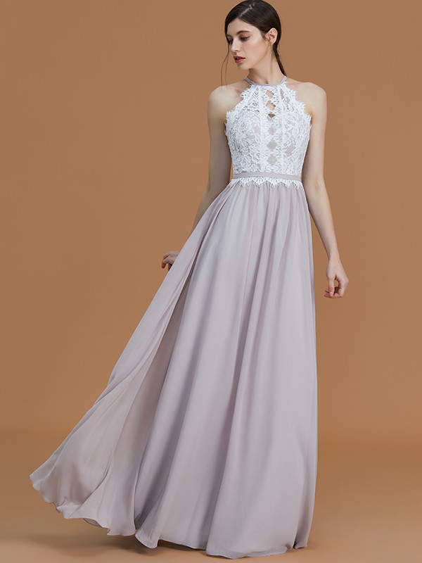A-Line/Princess Halter Sleeveless Floor-Length Chiffon Bridesmaid Dresses with Lace