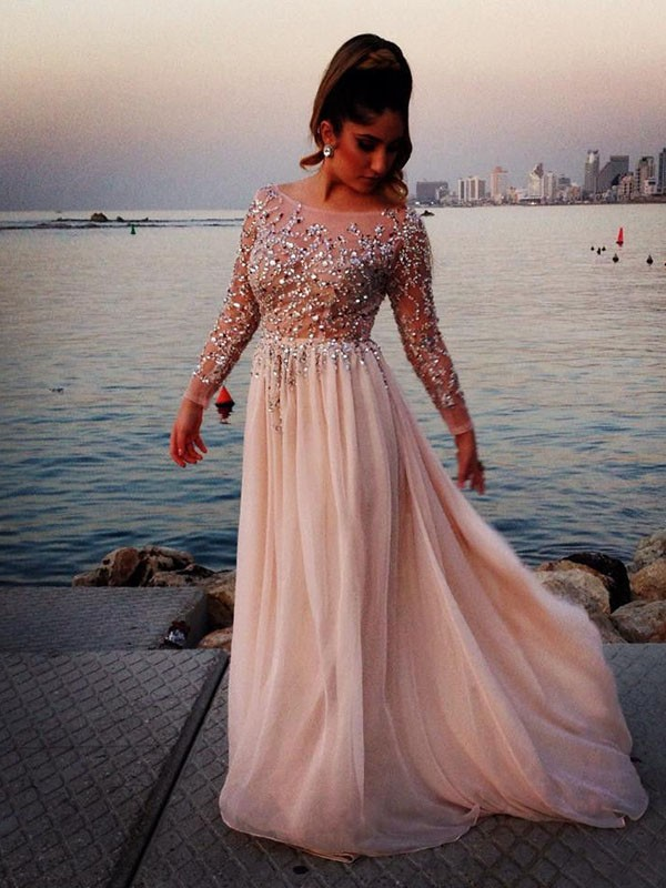 A-Line/Princess Bateau Long Sleeves Floor-Length Chiffon Dresses with Beading