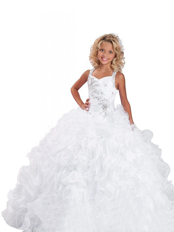 Ball Gown Straps Sleeveless Floor-Length Organza Flower Girl Dresses with Beading