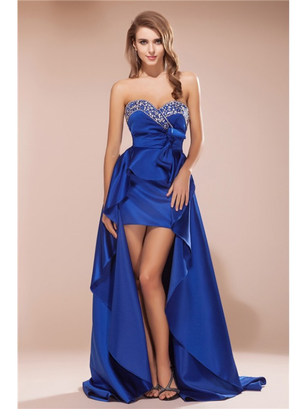 A-Line/Princess Sweetheart Sleeveless Asymmetrical Satin Dresses with Rhinestone
