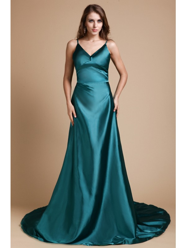 A-Line/Princess Spaghetti Straps Sleeveless Sweep/Brush Train Elastic Woven Satin Dresses with Ruffles