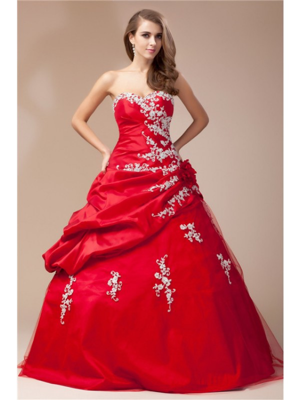 Ball Gown Sweetheart Sleeveless Floor-Length Taffeta Net Dresses with Beading Lace