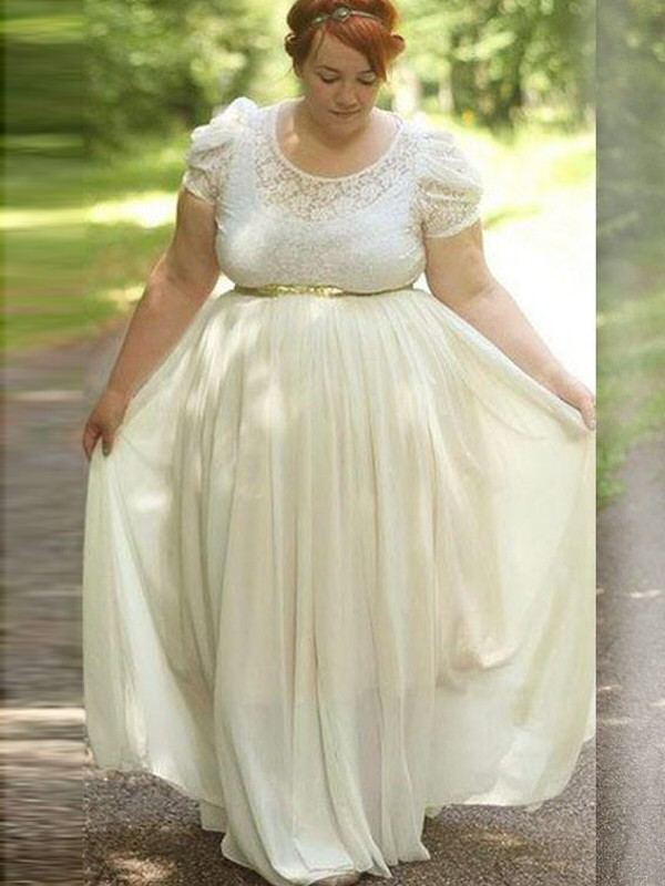 A-Line/Princess Scoop Short Sleeves Floor-Length Chiffon Dresses with Lace