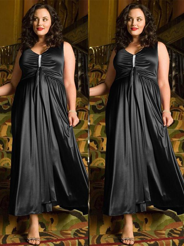 A-Line/Princess V-neck Sleeveless Ankle-Length Elastic Woven Satin Dresses with Beading