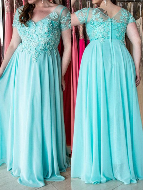A-Line/Princess Sweetheart Short Sleeves Floor-Length Chiffon Dresses with Applique