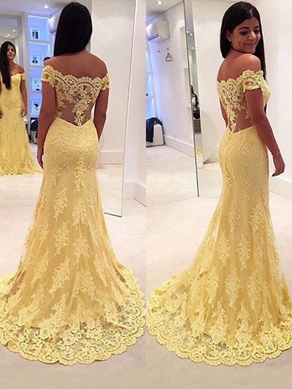 Trumpet/Mermaid Off-the-Shoulder Sleeveless Sweep/Brush Train Lace Dresses