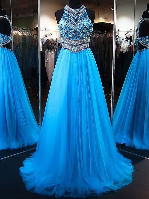 A-Line/Princess Jewel Sleeveless Sweep/Brush Train Tulle Dresses with Beading