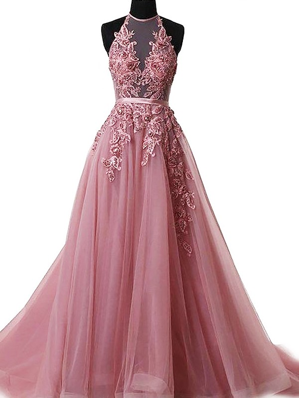 A-Line/Princess Halter Sleeveless Sweep/Brush Train Tulle Dresses with Applique