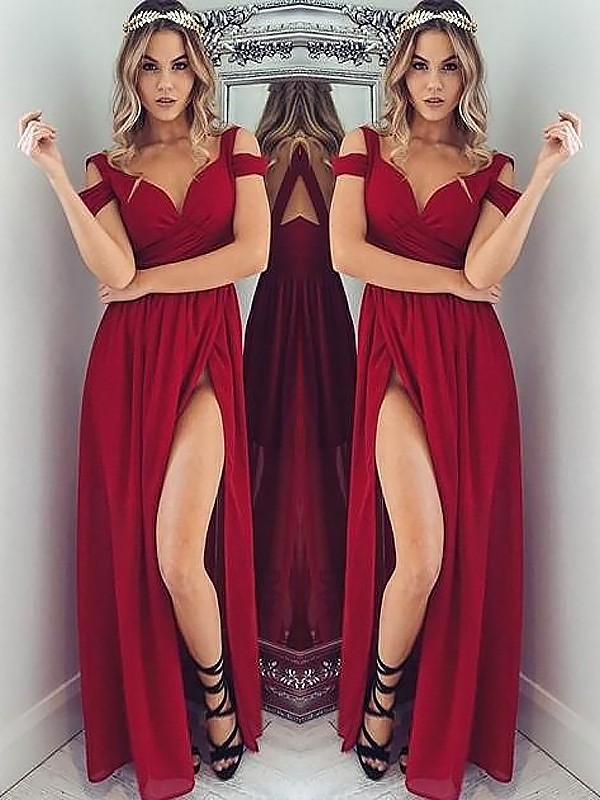 A-Line/Princess Off-the-Shoulder Sleeveless Floor-Length Chiffon Ruched Dresses
