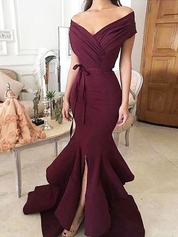 Trumpet/Mermaid Off-the-Shoulder Sleeveless Floor-Length Satin Ruched Dresses