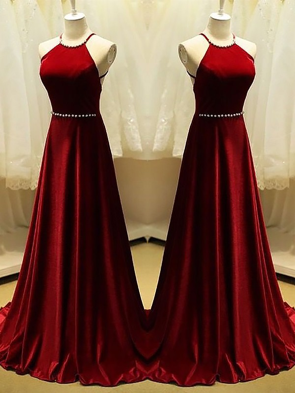 A-Line/Princess Halter Sleeveless Sweep/Brush Train Satin Dresses with Beading