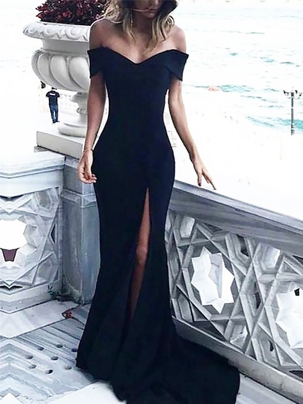 Sheath/Column Off-the-Shoulder Sleeveless Court Train Spandex Ruched Dresses