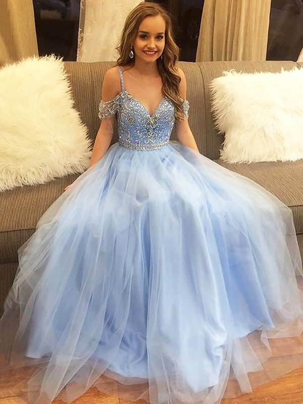A-Line/Princess Off-the-Shoulder Sleeveless Floor-Length Tulle Dresses with Beading