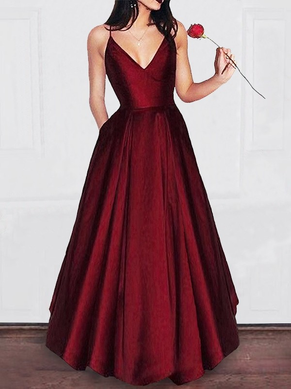 A-Line/Princess V-neck  Floor-Length Satin Dresses with Ruffles