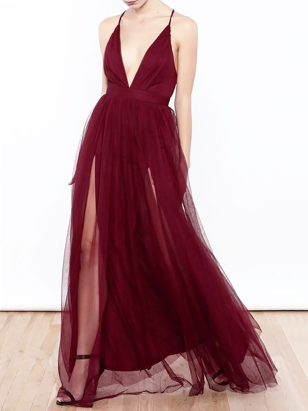 A-Line/Princess V-neck  Floor-Length Tulle Dresses with Ruffles