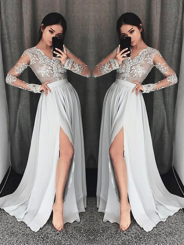 A-Line/Princess V-neck Long Sleeves Sweep/Brush Train Chiffon Dresses with Lace
