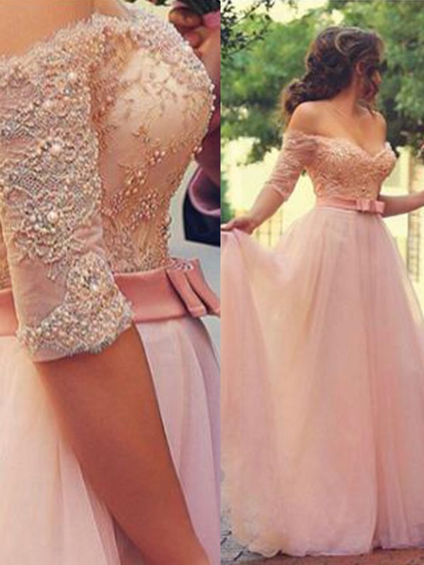 A-Line/Princess Off-the-Shoulder 1/2 Sleeves Floor-Length Tulle Dresses with Lace