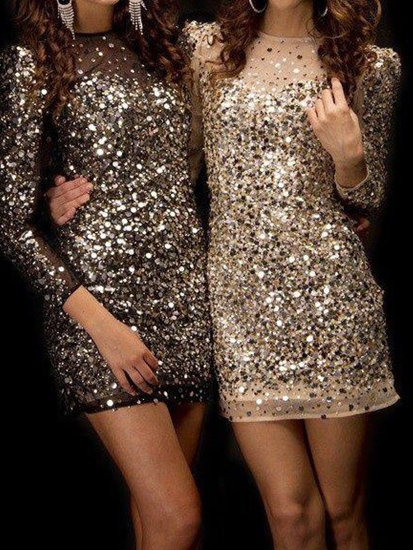 Sheath/Column Bateau Long Sleeves Short/Mini Sequins Homecoming Dresses with Beading