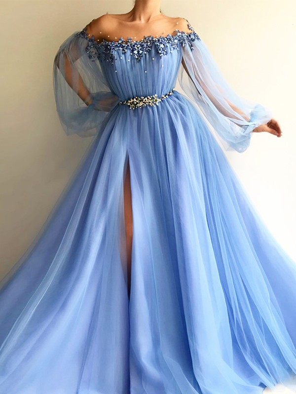 A-Line/Princess Off-the-Shoulder Long Sleeves Floor-Length Tulle Dresses with Beading