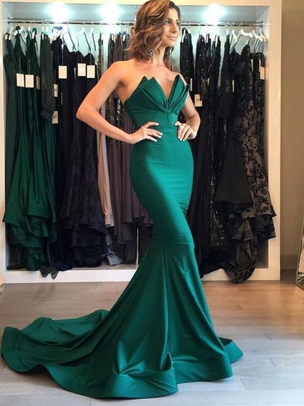 Trumpet/Mermaid V-neck Sleeveless Court Train Satin Dresses