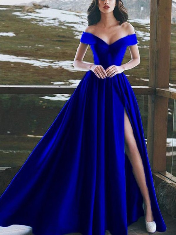A-Line/Princess Off-the-Shoulder Sleeveless Floor-Length Satin Dresses with Ruffles