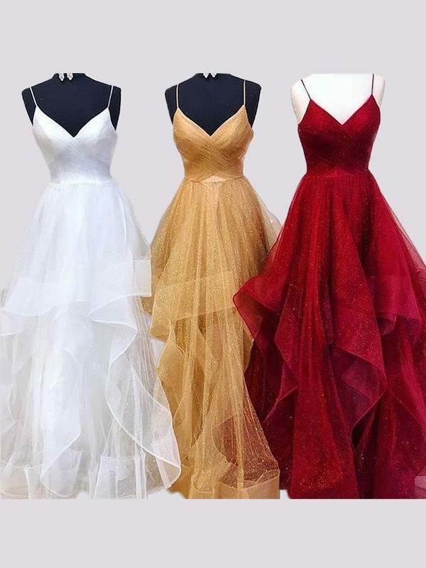 A-Line/Princess Spaghetti Straps Sleeveless Floor-Length Organza Dresses with Ruffles