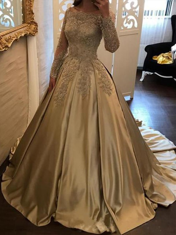Ball Gown Off-the-Shoulder Long Sleeves Sweep/Brush Train Satin Dresses with Applique