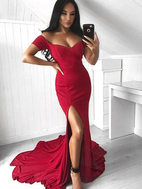 Trumpet/Mermaid Off-the-Shoulder Sleeveless Court Train Spandex Dresses with Ruffles