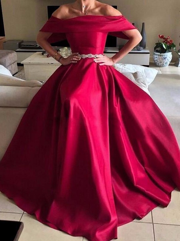 A-Line/Princess Off-the-Shoulder Sleeveless Floor-Length Satin Dresses with Sash/Ribbon/Belt