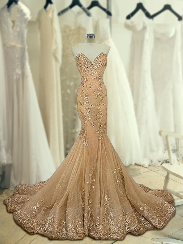Trumpet/Mermaid Sweetheart Sleeveless Sweep/Brush Train Tulle Dresses with Sequin
